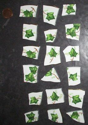 Broken Vintage China Porcelain Tiles for Mosaic/Art: Green Ivy Leaves (Z)