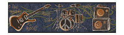 Ready to Rock Boys Band Instruments with Gold Accents Wallpaper Border JE3640B