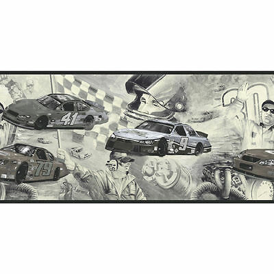 Classic Black and White Cars on the Track Nascar Wallpaper Border CK062202B