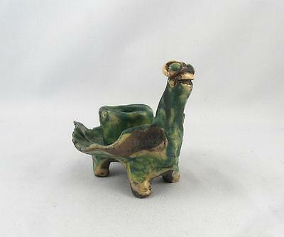 Quebec ?  Art Pottery Weird Turtle Shaped Candle Holder Signed