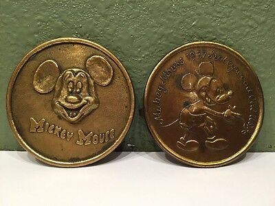Pair of Vintage solid brass 1937 Hollywood CA Mickey Mouse belt buckles