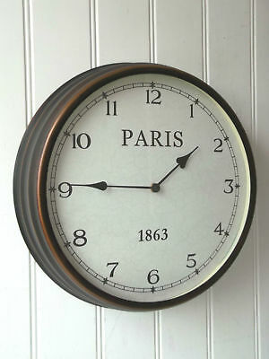 Shabby Chic LARGE PARIS WALL CLOCK Antique French Vintage Style Metal NEW