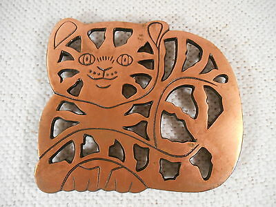 """ODI 2006 - Copper on Wrought Iron Metal Footed ~7"""" x 7"""" Cat Kitten Shaped Trivet"""