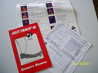 Fast Track Exercise Machine II owner's manual & progress chart