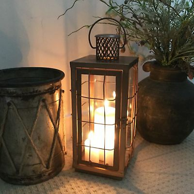 Large Vintage Style Copper Metal Lantern Candle Holder Garden French Antique NEW