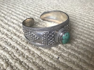 Antique Indian 925 sterling Silver and Turquoise Bangle