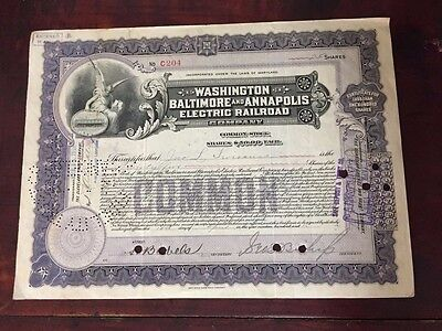 Vtg Washington Baltimore & Annapolis Electric Railroad Co Stock Certificate 1916