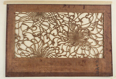 Large Antique Japanese Kimono Fabric Stencil Katagami, stylized floral 19th cent