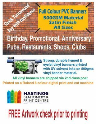 Printed Outdoor Vinyl Sign for Business Parties Birthdays 6ft x 2ft PVC Banner