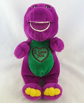 "Barney Plush Toy 10"" Tall Stuffed Animal ""I Love You"" Embroidered Heart"