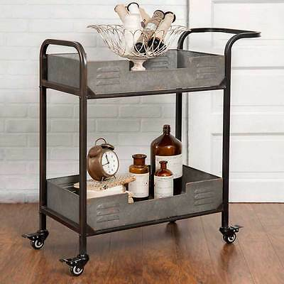 Two Tier Rolling Serving Cart Server Bar Kitchen Organizer Primitive Country
