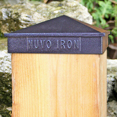 "Nuvo Iron PCP09 4""X6"" BLACK POST CAP galvanized pyramid wooden posts 3.5"" x 5.5"""