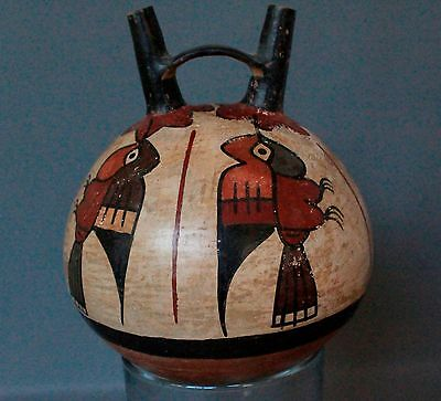Ancient Nazca Stirrup Vessel Vase with Hummingbirds from Peru Pre-Columbian Art