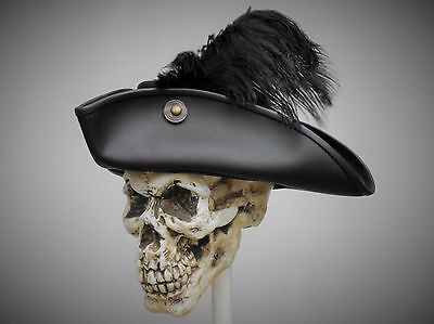tricorn black leather hat pirate feather costume cosplay reenactment cosplay