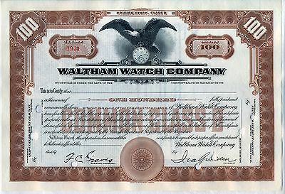 Waltham Watch Company Stock Certificate Massachusetts