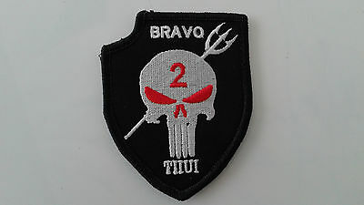 1 pc SEAL TEAM 2 BRAVO PUNISHER W/TRIDENT Emb. patch hook back