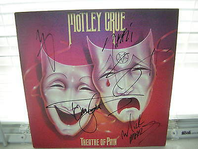 Motley Crue Signed Lp Threatre Of Pain 1985 X4 Nikki Sixx Tommy Lee