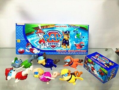 Set of 6Pcs Paw Patrol Figures Wind Up Swim Swimming Doll Kid Baby Bath Pool Toy