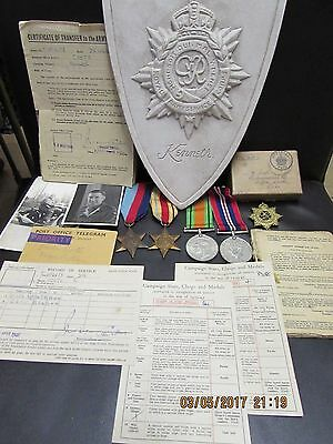 WW2 medal set of 4 africa star paperwork issue box service records etc