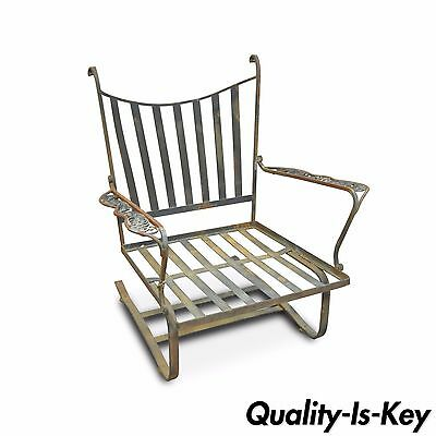Vintage Woodard Andalusian Mid Century Wrought Iron Patio Bouncer Lounge Chair
