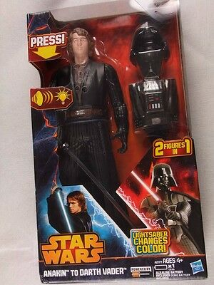 Star Wars ~Anakin To Darth Vader~ With Color Change Lightsaber~ 2 Figures In 1
