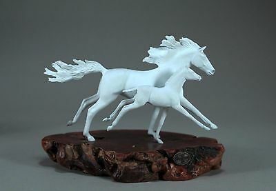 MARE & FOAL HORSE SCULPTURE White by JOHN PERRY 9in long Statue Figurine Art