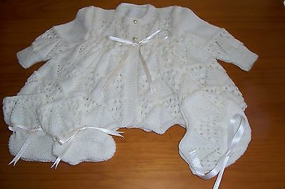 Ivory  Pyramid And Lace Baby Layette { Hand Knitted }