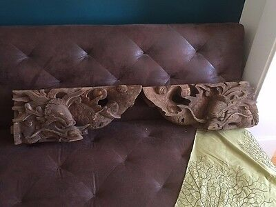 PAIR Old Ornate Carved Balinese? Asian? Architectural Dragons Serpent Dragon