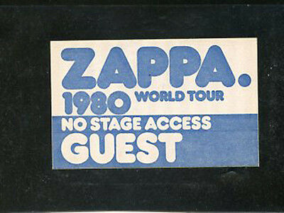 Frank Zappa backstage pass Guest 1980 World Tour