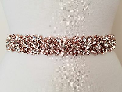 "Wedding Bridal Sash Belt, ROSE GOLD Crystal Wedding Dress Sash BelT = 19"" LONG"