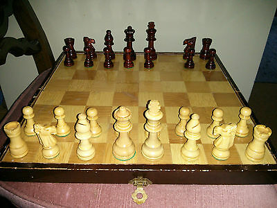 "Vintage wooden chess set with 14"" board, incomplete"