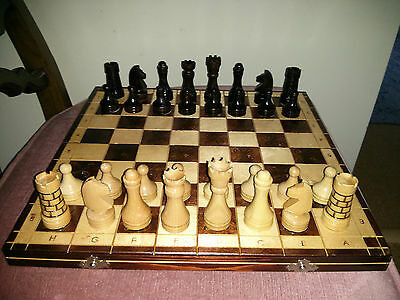 "Vintage wooden chess set with 14"" board"
