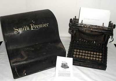 1900s Smith Premier No 4 Upstrike Dual Keyboard Typewriter & Cover Refurbished!