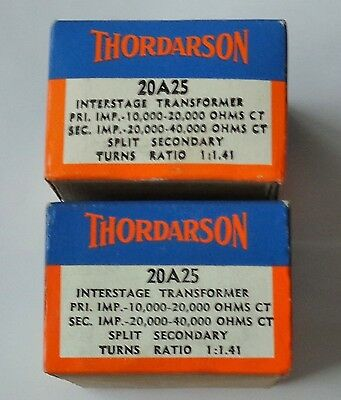 Two Nos Nib Vintage Thordarson 20A25 Audio Transformers