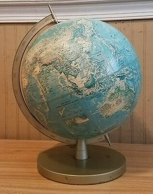 1950's Rand McNally World Portrait Globe With Metal Arm & Base ~ Raised Relief