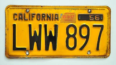 CALIFORNIA USA 1956 number plate/License plate/Nummernschild.