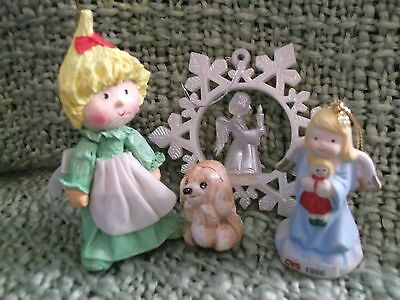 Christmas Angel ornaments - papier mache ; CVS 1996 & crystal plastic snowflake