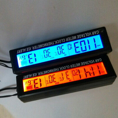 Auto Temperatur Spannung Uhr Digital LCD Thermometer Meter Batterie Monitor