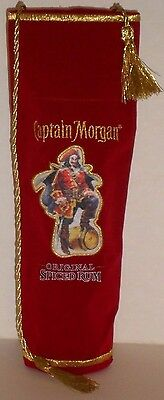 Captain Morgan Spiced Rum Bottle Embroidered Pouch Cover Red Velvet Gold Tassels
