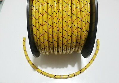7mm COPPER CORE BRAIDED CLOTH Yellow with Black Red tracers SPARK PLUG WIRE foot