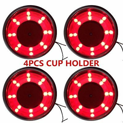 4Pcs Boat Stainless Steel Cup Drink Holder Red LED Built-in for Marine Truck RV