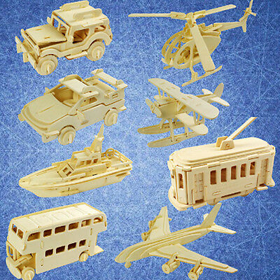 1*Helicopter Woodcraft Construction Kit  Kids Building Puzzle Wooden Model
