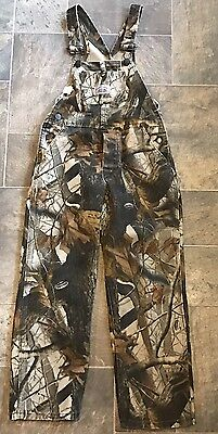 ROUND HOUSE Realtree Hardwood Camo Hunting Bibs Kids Boys Overalls Size 10