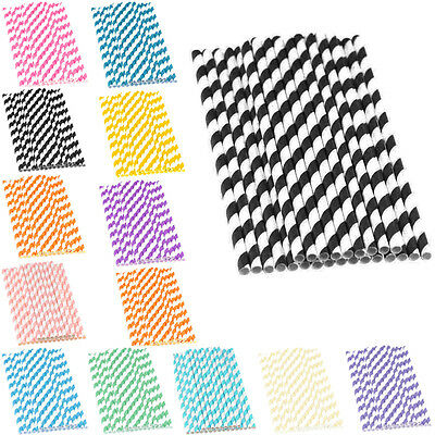 25pcs Striped Biodegradable Paper Drinking Straws for Birthday Wedding Party DIY