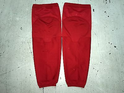 Practice Worn Reebok Team Issued NHL Pro Stock Hockey Player Socks L Solid Red