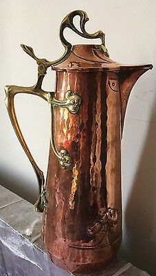 Art Nouveau Wmf Copper Brass Claret Jug Pitcher C1915 Ostrich Mark Arts & Crafts