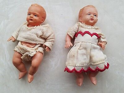 2 ANTIQUE MINI DOLL BABY CELLULOID 1930s-50s BRAND TORTUGA / TORTOISE 8 1/2