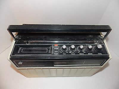 Vintage JC Penny Solid State Portable AM-FM Radio With 8 Track Tape Player