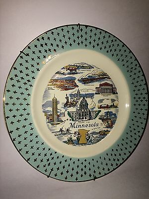 """Vintage Minnesota State Collectible Souvenir Advertising Plate 10"""""""