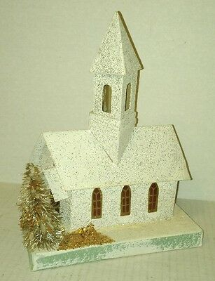 large vtg old CHRISTMAS Village CHURCH Japan Putz 8 1/2 inches tall very clean